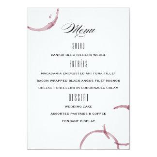 Le vin souille le menu de mariage de vignoble carton d'invitation  11,43 cm x 15,87 cm