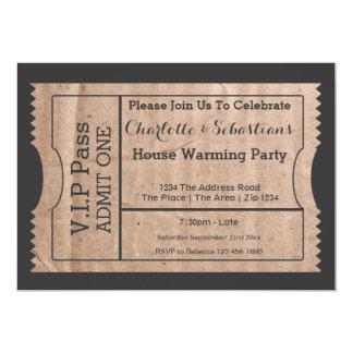 Le VIP passent à carton de chauffage de Chambre le Carton D'invitation 12,7 Cm X 17,78 Cm