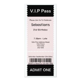 Le VIP passent le billet d'admission de partie Carton D'invitation 10,16 Cm X 23,49 Cm