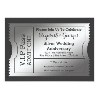 Le VIP passent le billet d'anniversaire de noces Carton D'invitation 12,7 Cm X 17,78 Cm