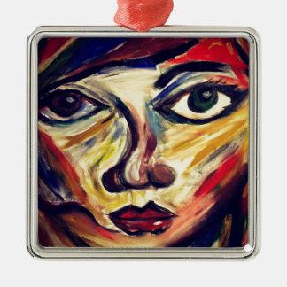 Le visage abstrait de la femme ornement carré argenté