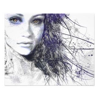 Le visage de fille observe le dessin de cheveux prospectus 11,4 cm x 14,2 cm