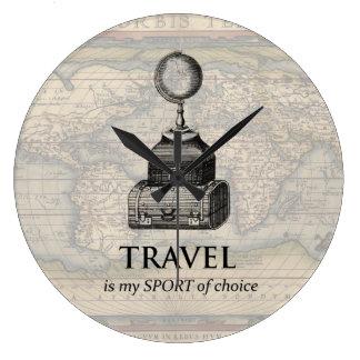 Le voyage est mon horloge murale vintage de carte