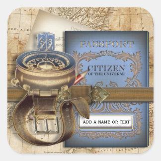 Le voyageur personnalisé sticker carré