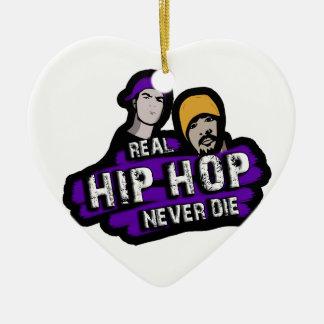 Le vrai hip hop ne meurent jamais ornement cœur en céramique