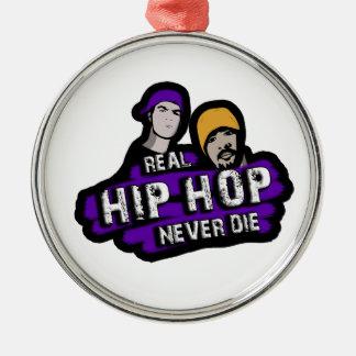 Le vrai hip hop ne meurent jamais ornement rond argenté