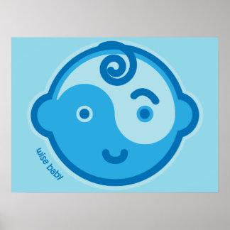 Le yoga parlent le bébé : Copie sage bleue de bébé Posters