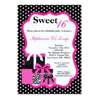 le zèbre 5x7 rose présente l'invitation de fête carton d'invitation  12,7 cm x 17,78 cm