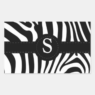 Le zèbre barre la coutume initiale du monogramme S Sticker Rectangulaire