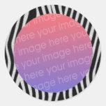 le zèbre barre le cadre de photo adhésif rond