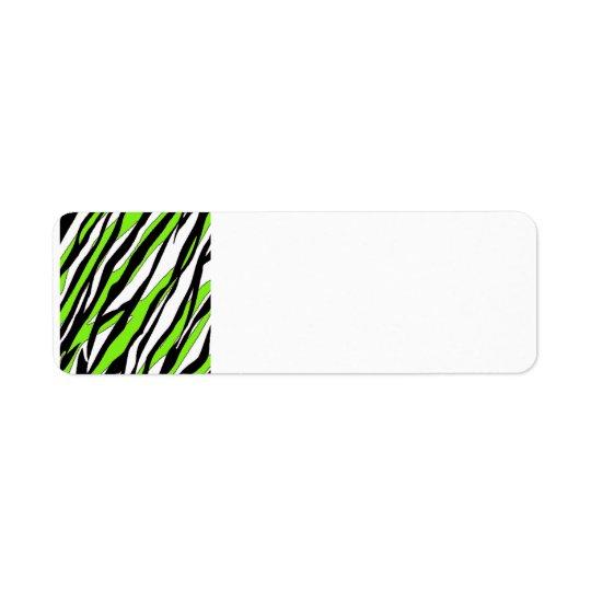 Le zèbre barre le vert de chaux étiquette d'adresse retour