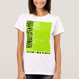 Le zèbre Chartreuse barre le poster de animal ; T-shirt