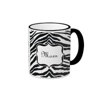 Le zèbre de maman barre noir et blanc mugs à café