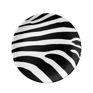 Le zèbre noir et blanc barre le poster de animal assiettes en porcelaine