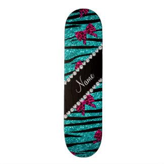 Le zèbre nommé fait sur commande de turquoise skateboard old school 18,1 cm