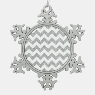 Le zigzag argenté de scintillement barre le motif ornement flocon de neige pewter