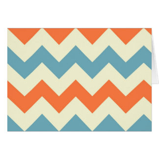 Le zigzag bleu orange de chevron barre le motif de carte de vœux
