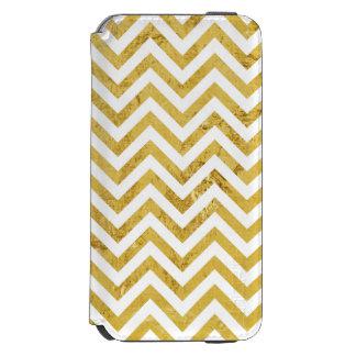 Le zigzag élégant de feuille d'or barre le motif coque-portefeuille iPhone 6 incipio watson™
