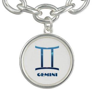 Le zodiaque bleu de Gémeaux se connecte le blanc Bracelets Avec Breloques