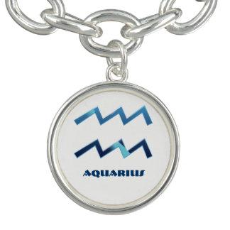 Le zodiaque bleu de Verseau se connecte le blanc Bracelet