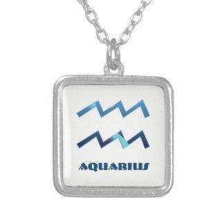 Le zodiaque bleu de Verseau se connecte le blanc Pendentif Carré