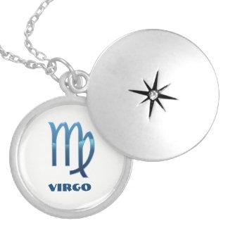 Le zodiaque bleu de Vierge se connecte le blanc Médaillon Avec Fermoir