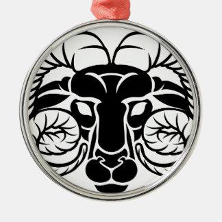 Le zodiaque signe l'icône de Bélier Ornement Rond Argenté