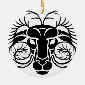 Le zodiaque signe l'icône de Bélier Ornement Rond En Céramique
