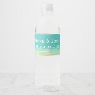 L'eau bleue d'Aqua/bord de la mer peint de plage Étiquette Pour Bouteilles D'eau
