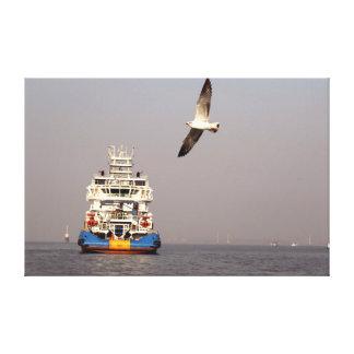 L'eau d'oiseau de bateau d'impression de toile
