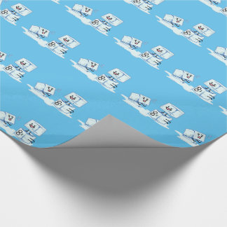 l'eau glaciale de cube en glaçons glissant le papier cadeau noël