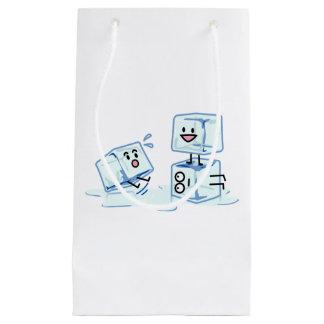 l'eau glaciale de cube en glaçons glissant le petit sac cadeau
