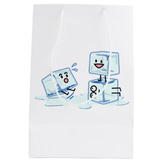 l'eau glaciale de cube en glaçons glissant le sac cadeau moyen
