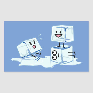 l'eau glaciale de cube en glaçons glissant le sticker rectangulaire