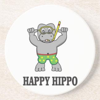 l'eau heureuse d'hippopotame dessous de verre