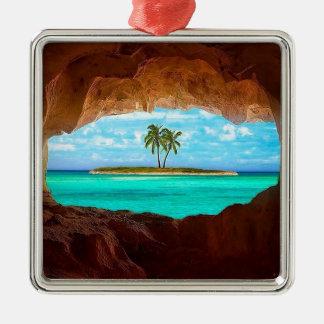 L'eau pittoresque et palmiers ornement carré argenté
