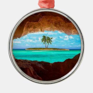 L'eau pittoresque et palmiers ornement rond argenté