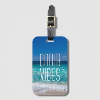 L'eau tropicale de turquoise de plage de étiquette à bagage