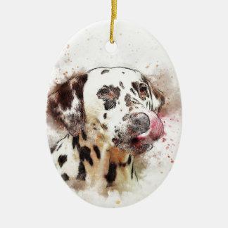 Lèchement de chien de Dalmation Ornement Ovale En Céramique