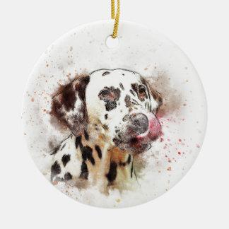Lèchement de chien de Dalmation Ornement Rond En Céramique