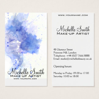 L'éclaboussure bleue abstraite d'aquarelle cartes de visite