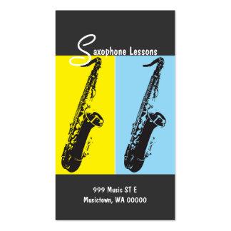 Leçons de saxophone, instructeur, carte carte de visite standard