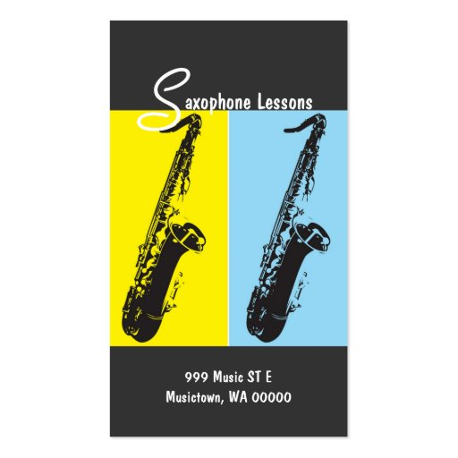 Leçons de saxophone, instructeur, carte modèles de cartes de visite