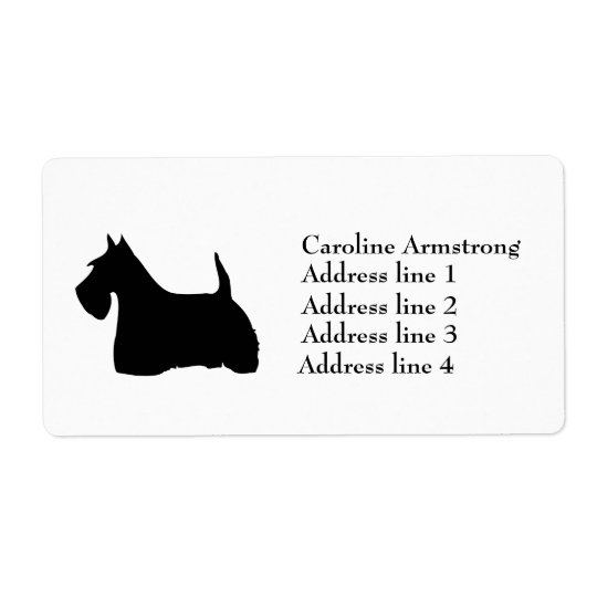 L'écossais Terrier a personnalisé des étiquettes d