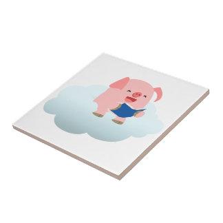 Lecteur mignon de porc de bande dessinée sur la petit carreau carré