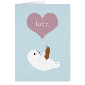 Lecture d'amour cartes de vœux