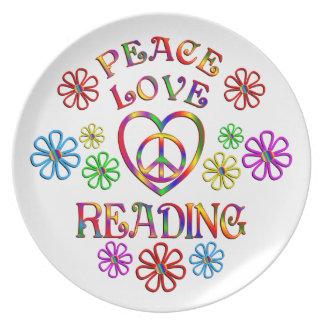 Lecture d'amour de paix assiette