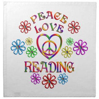 Lecture d'amour de paix serviettes de table