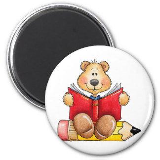 Lecture d'ours de nounours magnet rond 8 cm