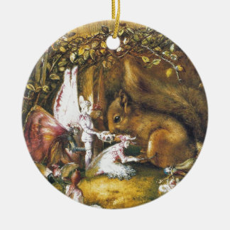 L'écureuil blessé ornement rond en céramique